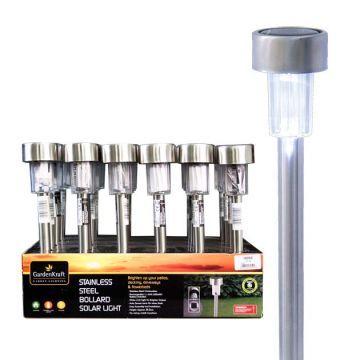 Соларна LED лампа, иноксова 36,5см