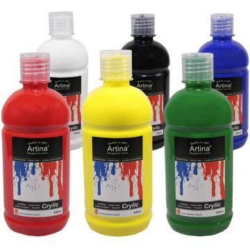 Акрилни бои 6 цвята х 500 мл