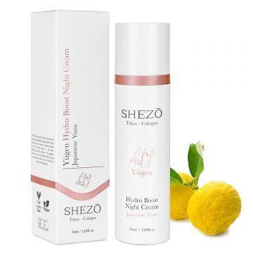Нощен крем за лице против бръчки SHEZO 50ml с витамини С и Е, екстракт от юзу и хиалурон