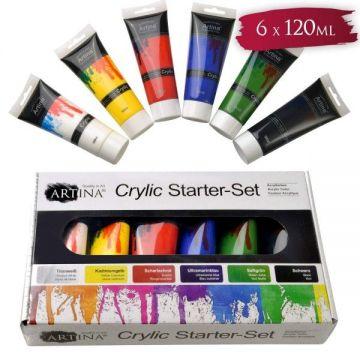 Акрилни бои 6 цвята X 120 мл