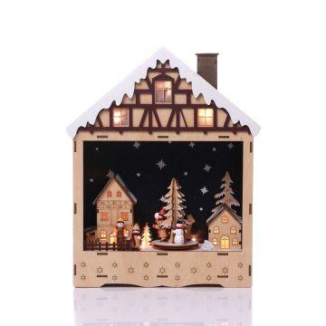 Коледна светеща къщичка с 10бр LED светлини