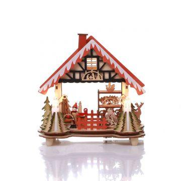 Коледна светеща къщичка с 5бр LED светлини