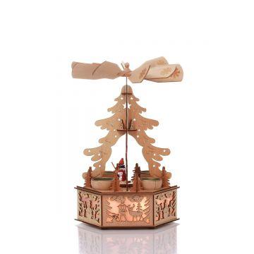 Коледна дървена елхичка с LED светлини