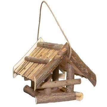 Хранилка за птици с покрив от тръстика