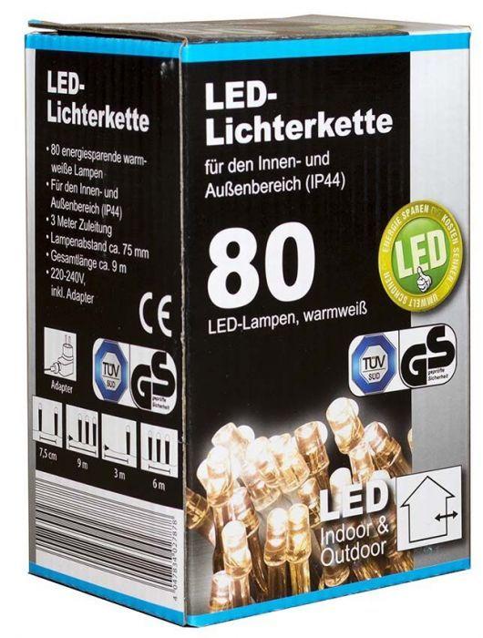 Коледни LED лампички с адаптер 80бр-9м