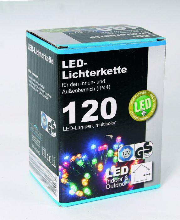 Цветни коледни LED лампички с адаптер 120бр-12м