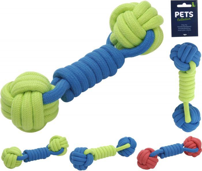 Въжена играчка за куче с две топки 23см