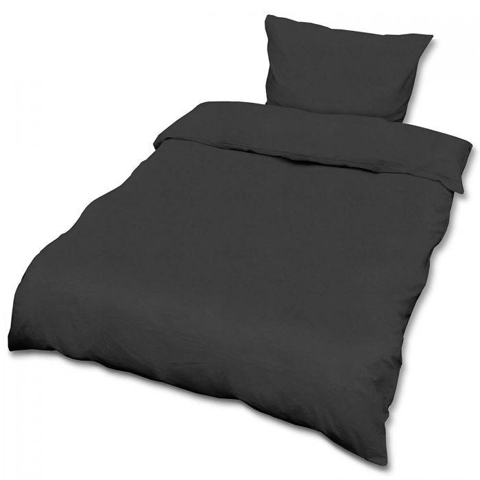 Спален комплект ранфорс Beautissu плик 135х200см и калъфка 80х80см черен