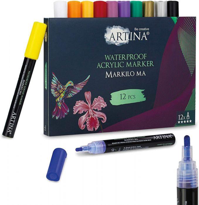 Комплект 12 бр. акрилни писалки Artina Markilo Ma