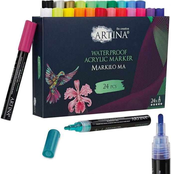 Комплект 24 бр. акрилни писалки Artina Markilo Ma