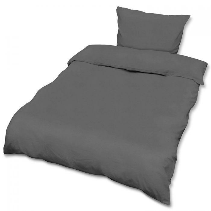 Спален комплект ранфорс Beautissu плик 155х220см и калъфка 80х80см антрацит