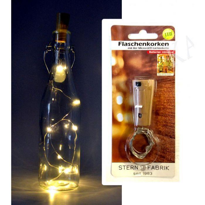 Декоративна тапа за бутилка с 8бр LED светлини на тел