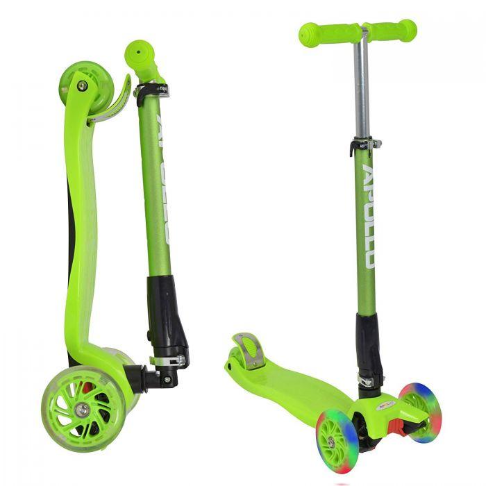 """Тротинетка -триколка """"Kids Whiz """" LED колела Зелена"""