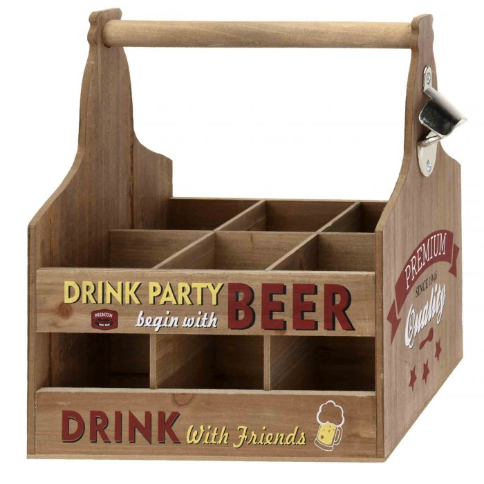 Дървена касетка за бутилки с дръжка и отварачка