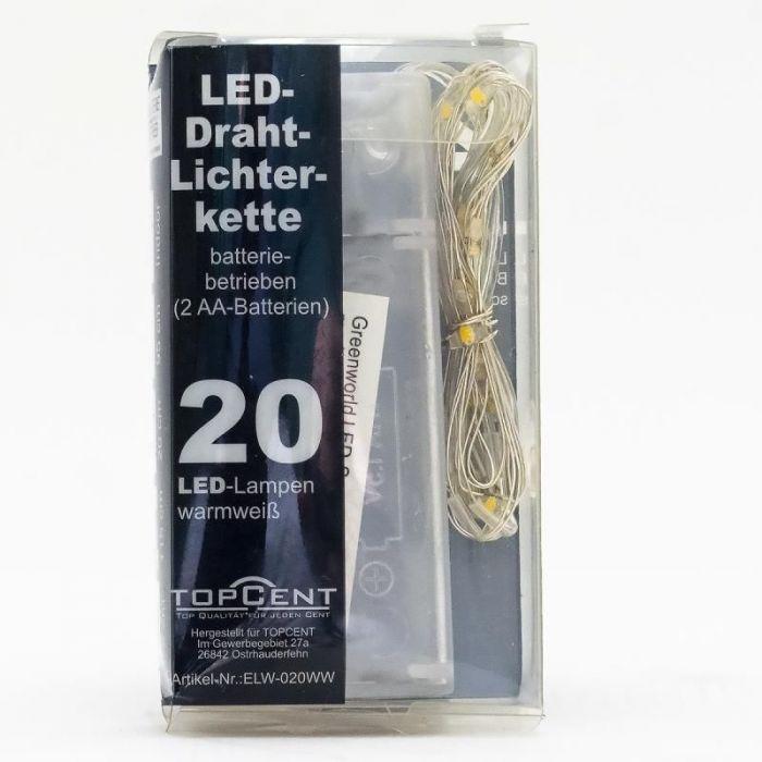 Коледна светеща тел с 20бр LED светлини с батерии-115см