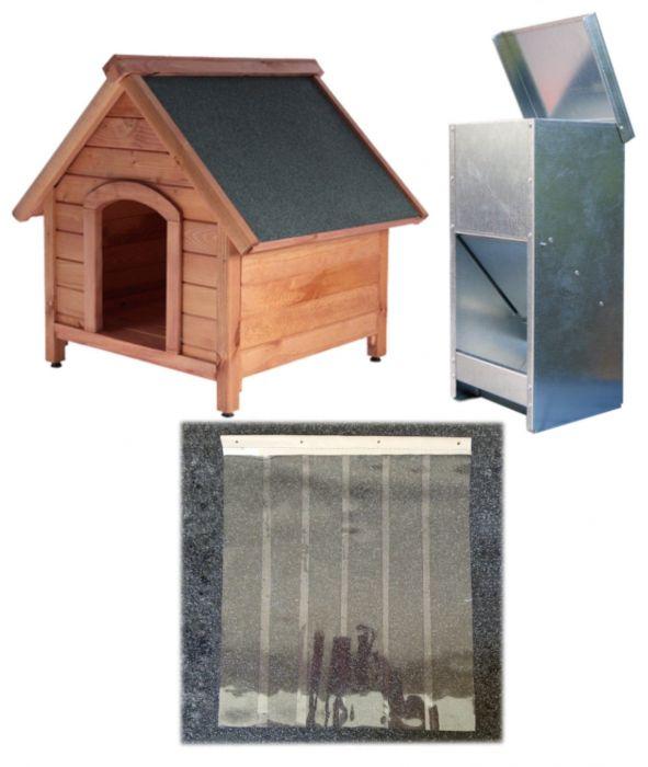 Къща за куче XL кафява + врата XL + хранилка L/XL