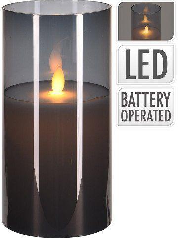 LED Свещ в стъклена чаша, 20см