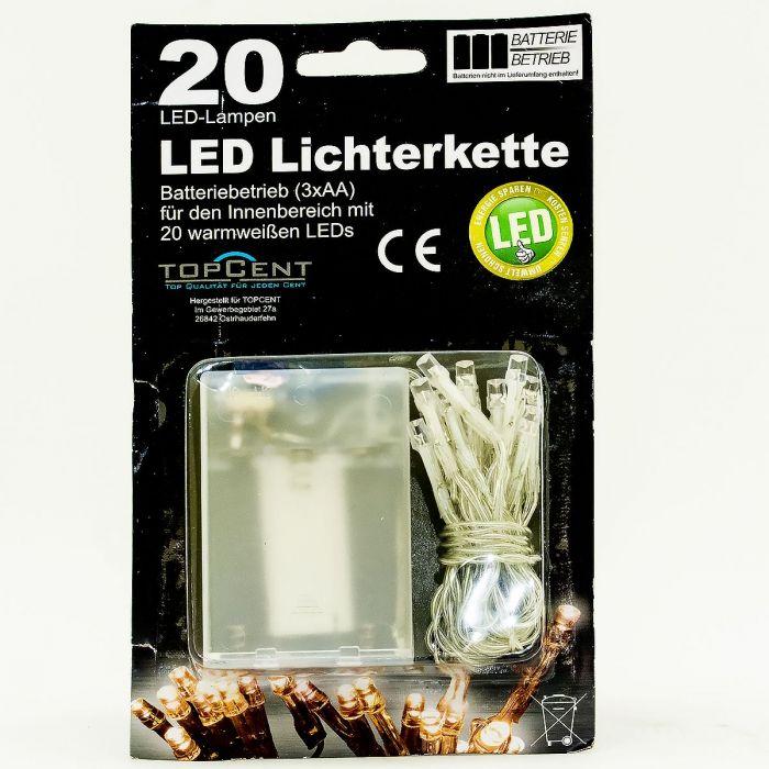 Коледни LED лампички с батерии 20бр