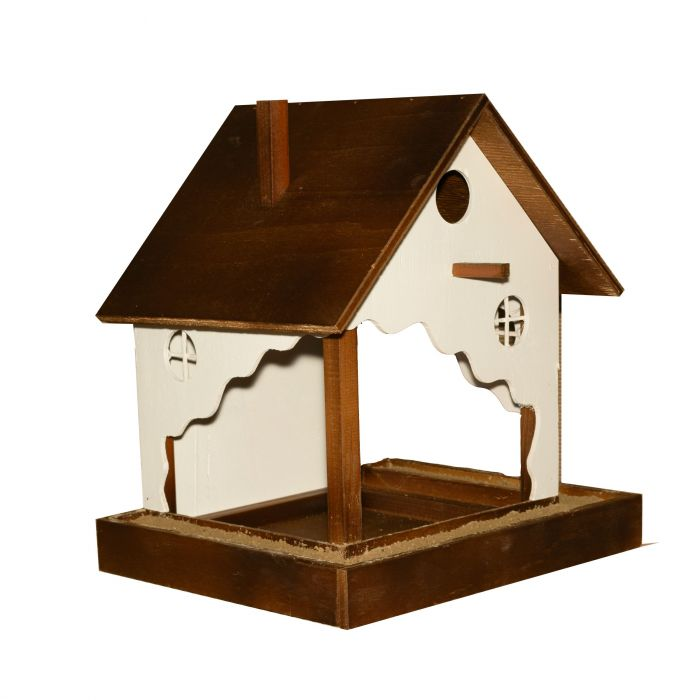 Къща и хранилка за птици 3 в 1 със саксия