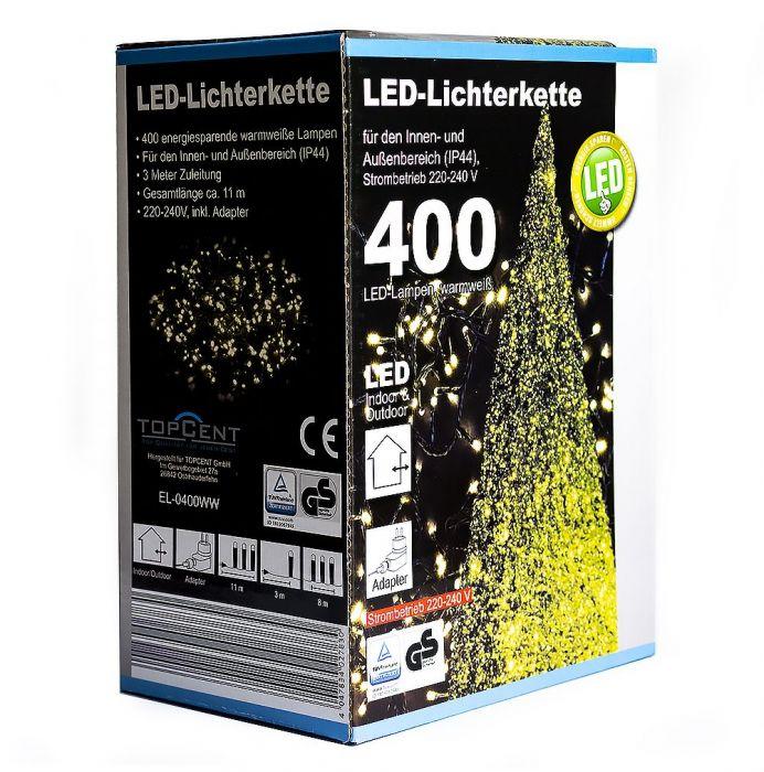 Коледни LED лампички с адаптер 400бр-21м