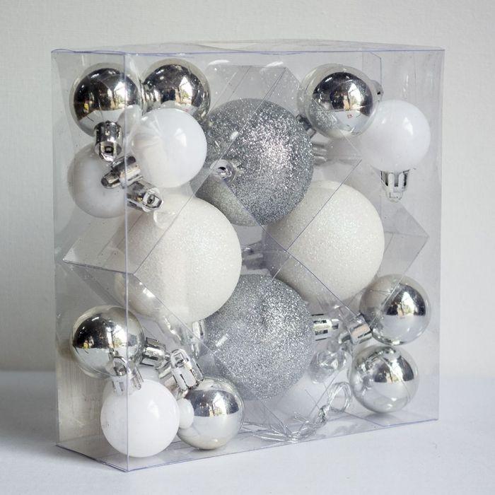 Комплект коледни топки за украса 16бр различни цветове