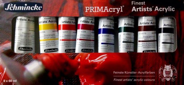 "Schmincke ""PRIMAcryl""  акрилни бои 8 цвята x 60 мл."