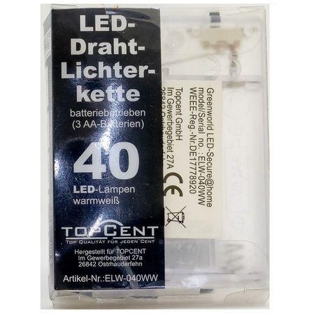 Коледна светеща тел с 40бр LED светлини с батерии-215см