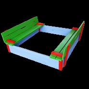 Детски пясъчник с пейки и капак цветен